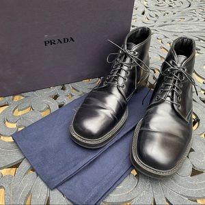 Men's Prada Black Leather Boots